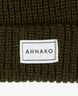 Ahnako Thick Knitted Beanie - Olive - Logo Patch