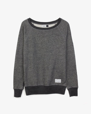 Ahnako Women's French Terry Boat Neck Sweater with Logo Patch - Grey