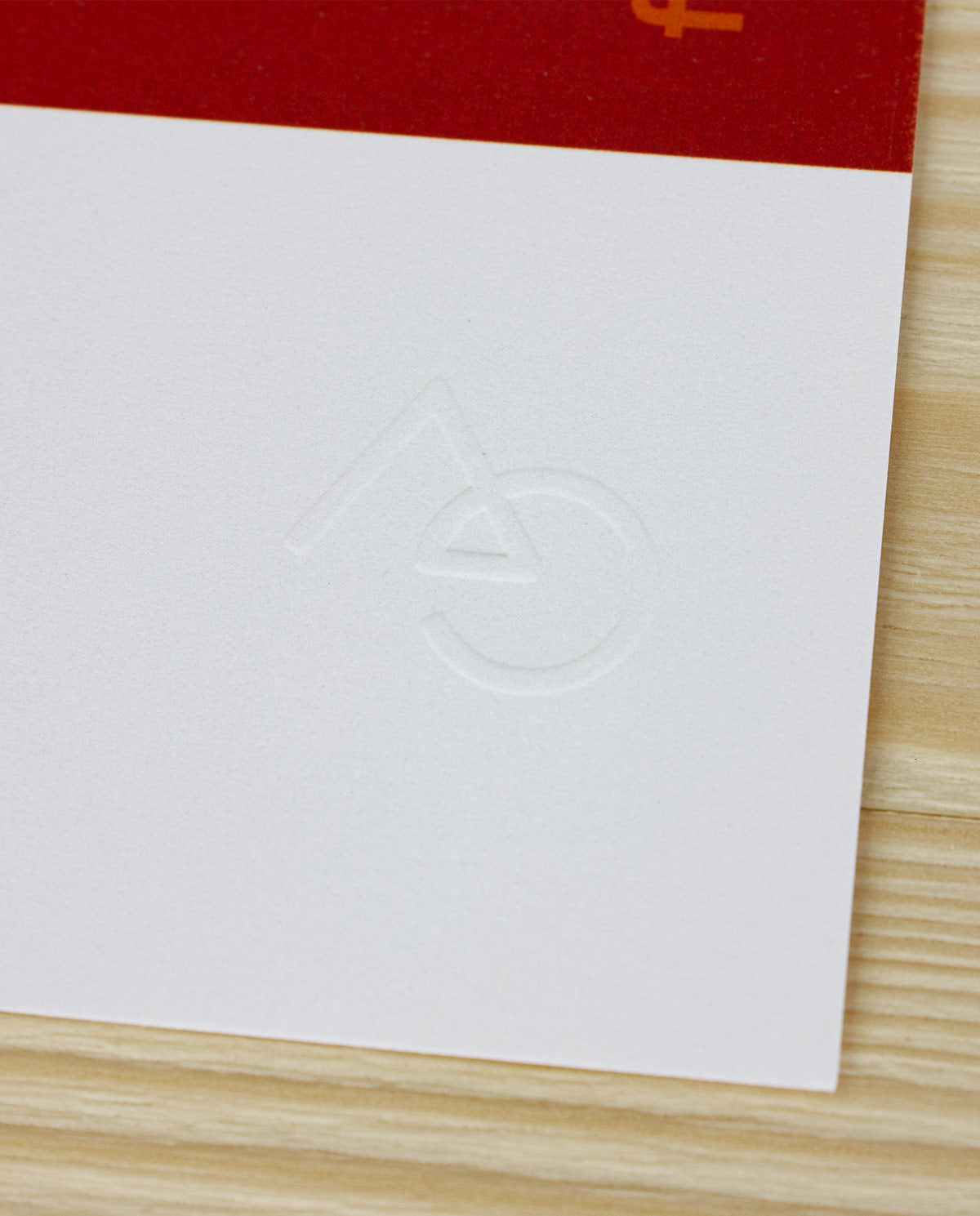 Ahnako embossed logo close up