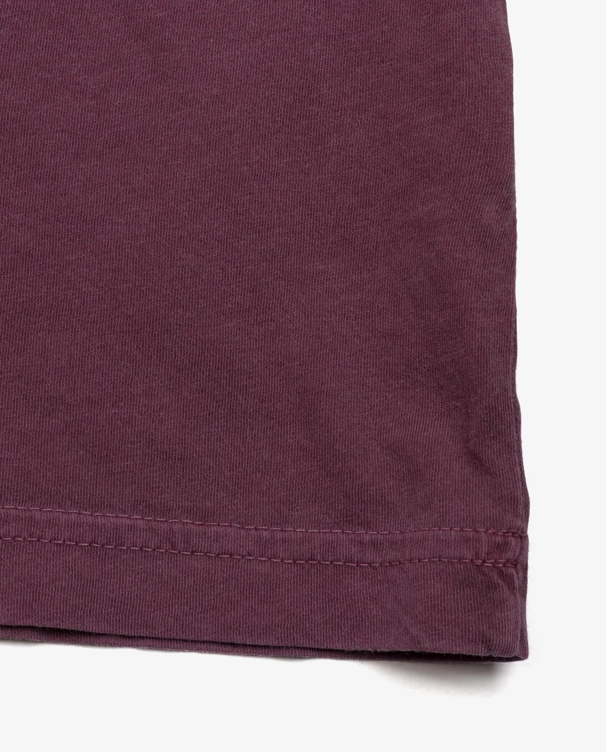 Ahnako Basic Tee Shirt - Pomegrante - Hem Close Up