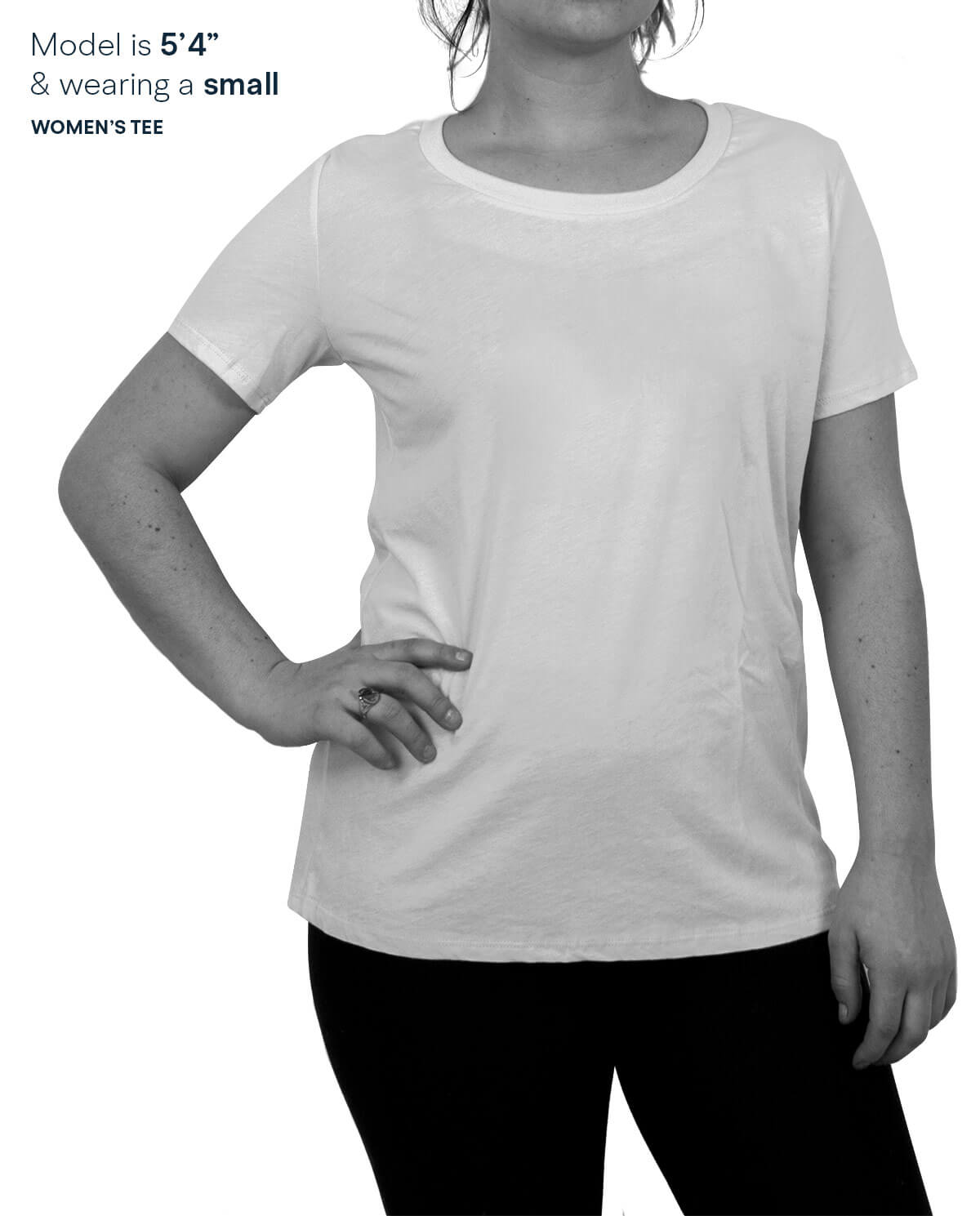 Woman modeling t-shirt