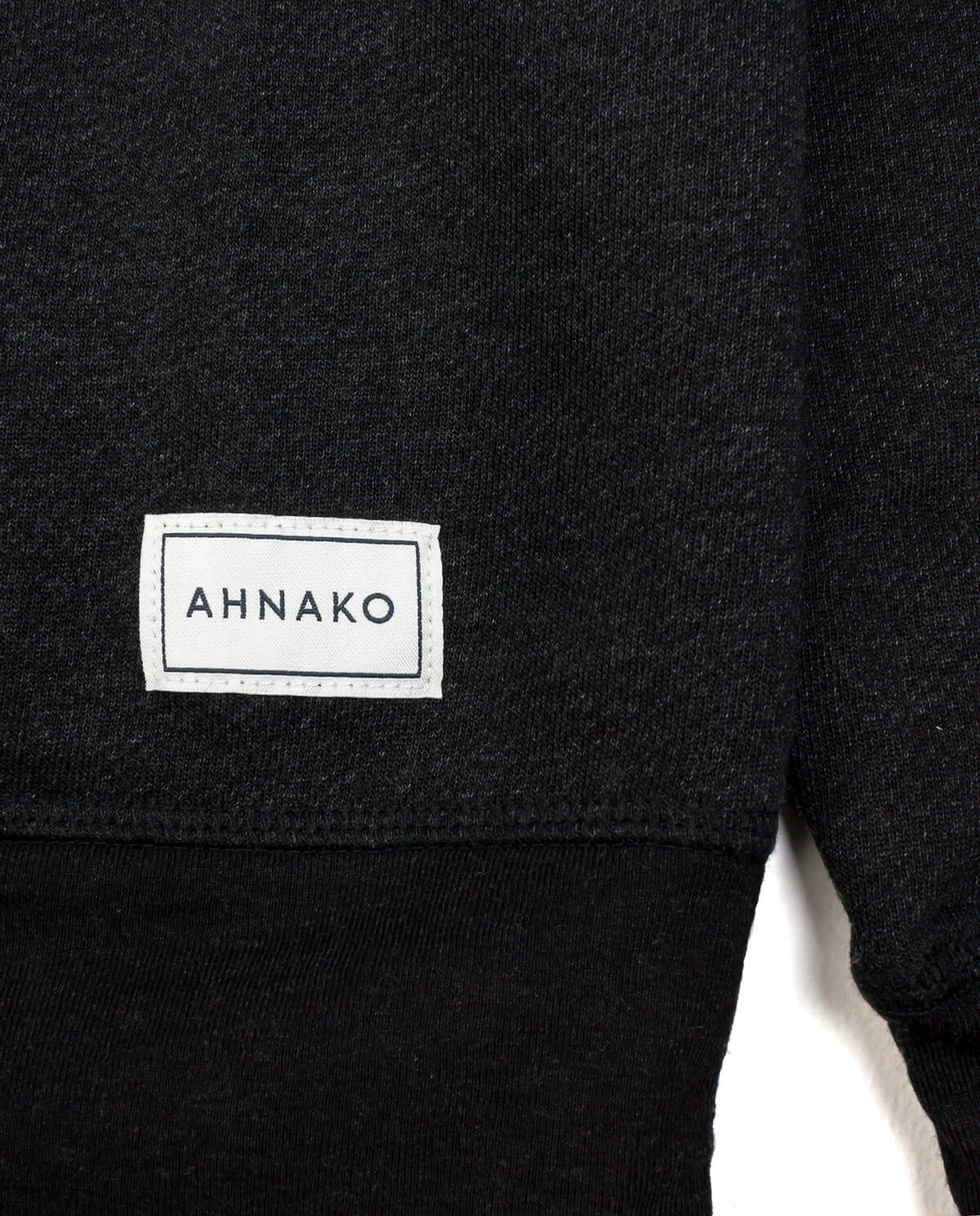 Ahnako Women's French Terry Boat Neck Sweater with Logo Patch - Charcoal - Patch Close Up