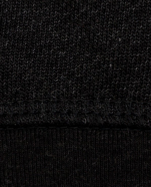 Ahnako Women's French Terry Boat Neck Sweater with Logo Patch - Charcoal - Fabric Close Up
