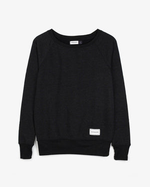 Ahnako Women's French Terry Boat Neck Sweater with Logo Patch - Charcoal