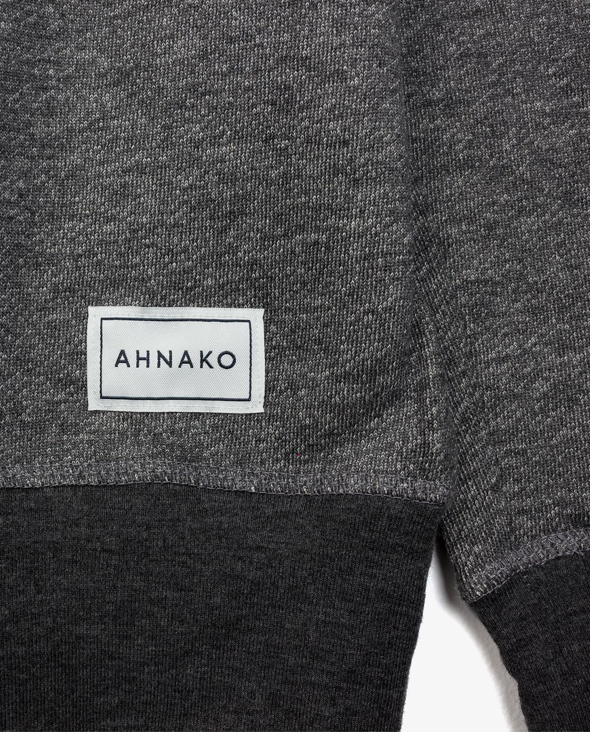 Ahnako Women's French Terry Boat Neck Sweater with Logo Patch - Grey - Patch Close Up