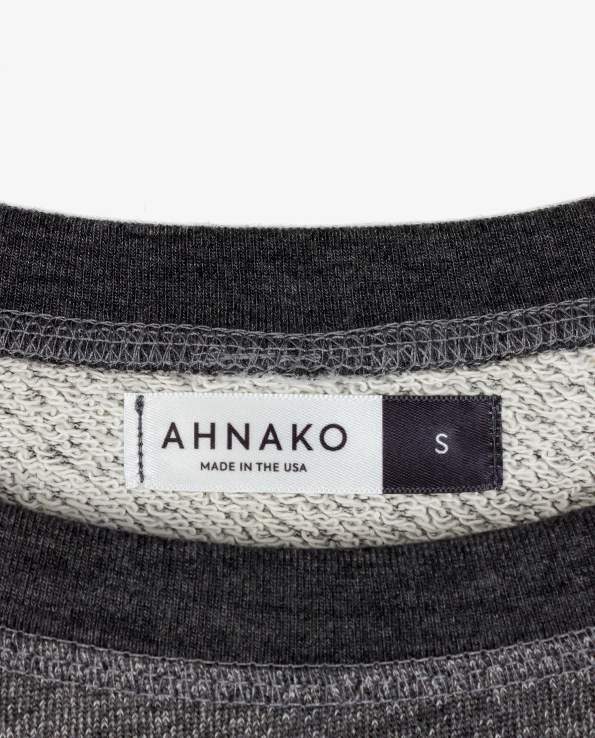 Ahnako Women's French Terry Boat Neck Sweater with Logo Patch - Grey - Clothing Tag