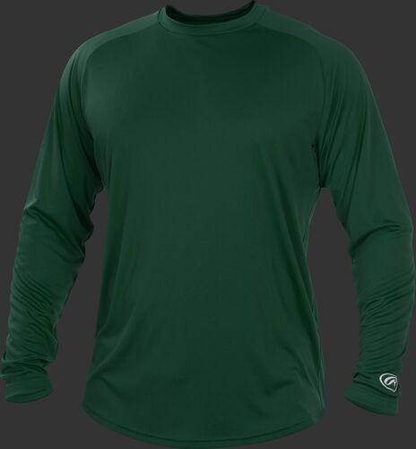 Rawlings Adult Crew Neck Dark Green Long Sleeve Shirt-artwork included