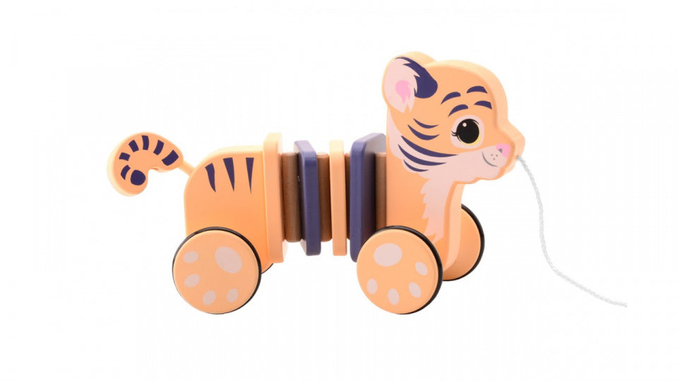 trektijger The Wildies Family junior 23 cm hout oranje