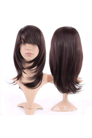 Sex Doll Wig Long Bob w/Bangs-Dark Brown