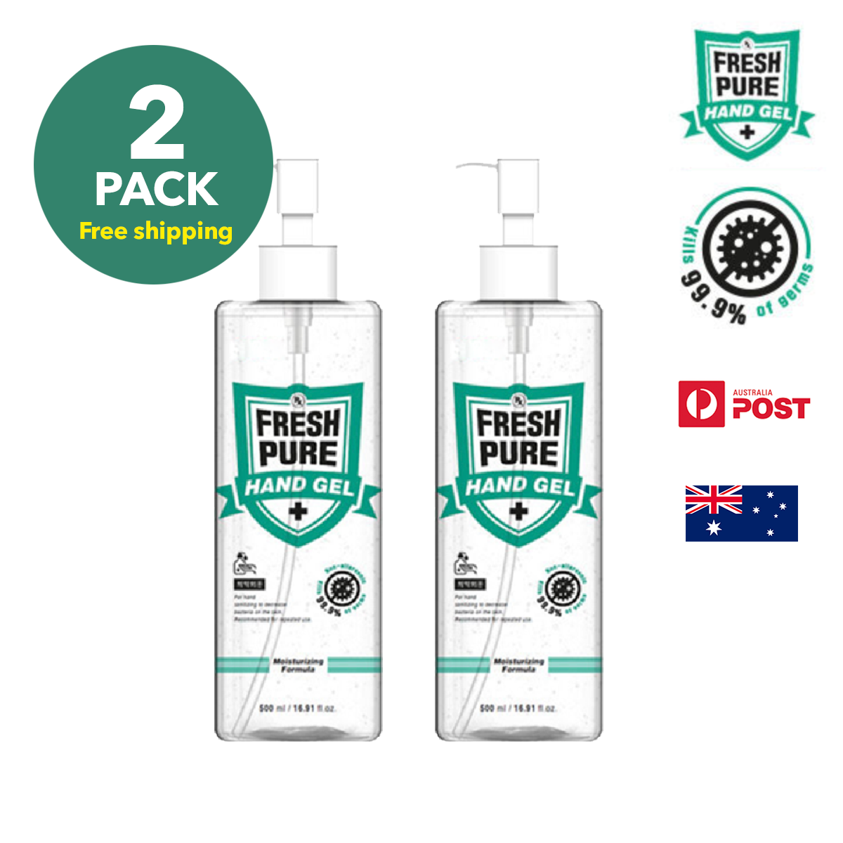 RX FRESH PURE HAND GEL 500ml x 2 Pack (Free shipping)