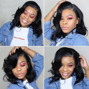 Human Hair Bob Wigs Body Wave Lace Front Wigs Pre-Plucked Hairline with Baby Hair