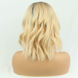 Human Hair Bob Wigs Body Wave Lace Front Wigs with Baby Hair (#1B/613 Blonde)