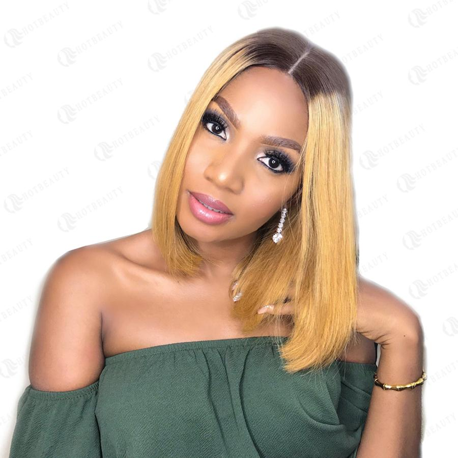 Human Hair Bob Wigs Straight Lace Front Wigs with Baby Hair (#4/27 Honey Blonde)