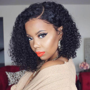 Human Hair Bob Wigs Curly Lace Front Wigs