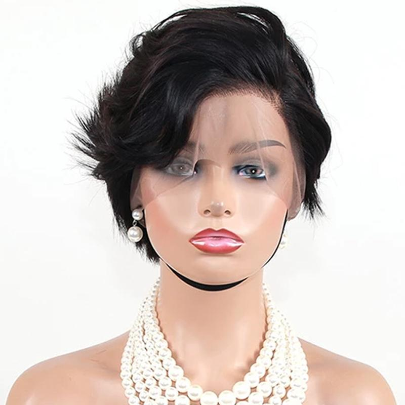 Human Hair Bob Wigs Lace Front Short Pixie Cut Wigs