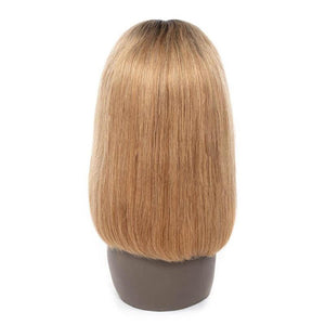 Human Hair Bob Wigs Straight Lace Front Wigs with Baby Hair (#1B/27 Honey Blonde)
