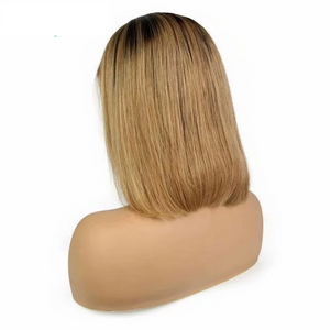 Human Hair Bob Wigs Straight Lace Front Wigs (#1B/30 Honey Blonde)