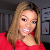 Human Hair Bob Wigs Straight Lace Front Wigs with Baby Hair (#1B/30 Honey Blonde)