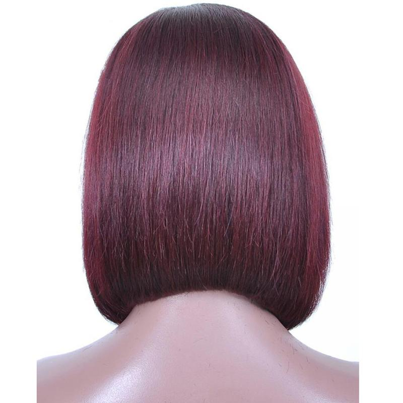 Human Hair Bob Wigs Straight Lace Front Wigs (#1B/99J Burgundy)