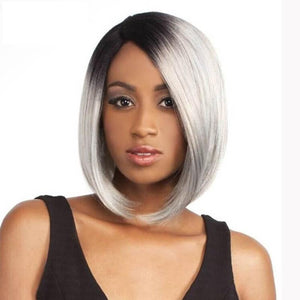 Human Hair Bob Wigs Straight Lace Front Wigs (#1B/Grey)