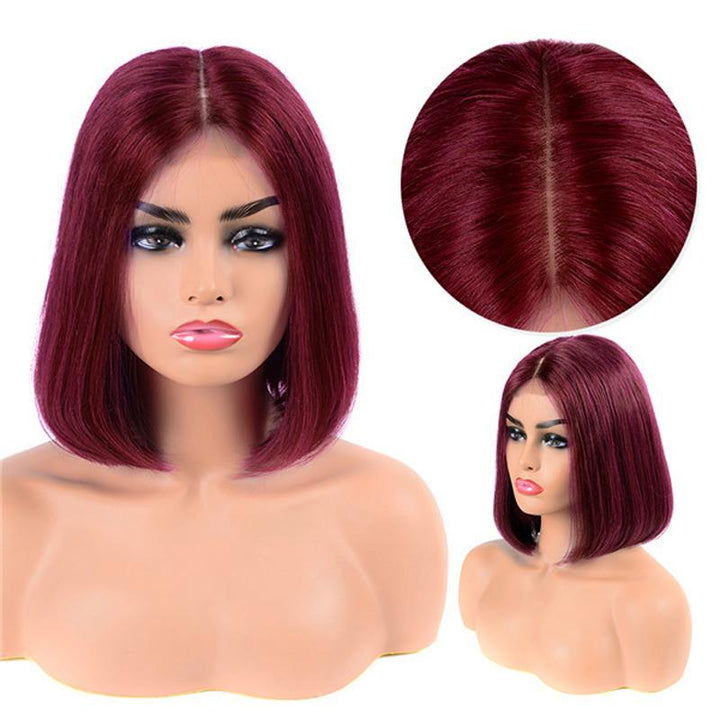 Human Hair Bob Wigs Straight Lace Front Wigs (#99J Burgundy)