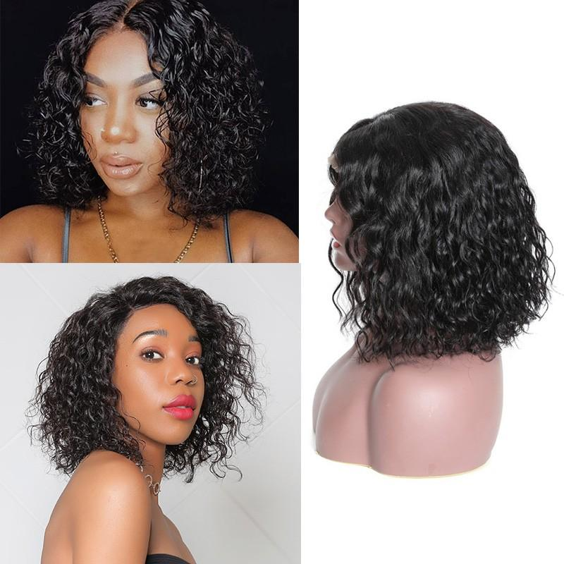 Human Hair Bob Wigs Water Wave Lace Front Wigs
