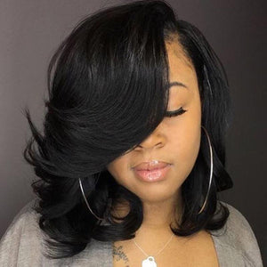Human Hair Bob Wigs Body Wave Lace Front Side Part Wigs