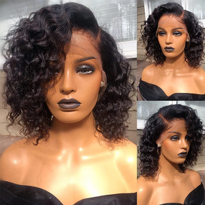 Human Hair Bob Wigs Curly Lace Front Side Part Wigs