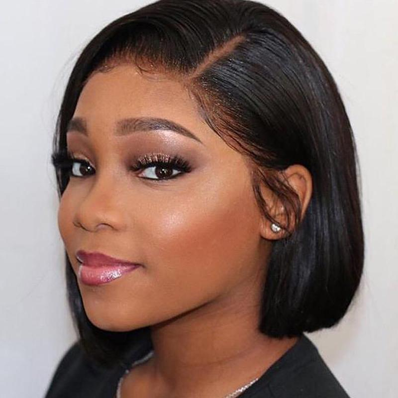 Human Hair Bob Wigs Straight Lace Front Side Part Wigs