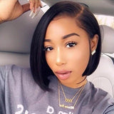 Human Hair Bob Wigs Straight Lace Front Side Part Wigs Pre-Plucked Hairline