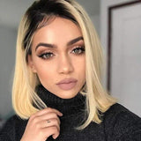 Human Hair Bob Wigs Straight Lace Front Wigs with Baby Hair (#1B/613 Blonde)
