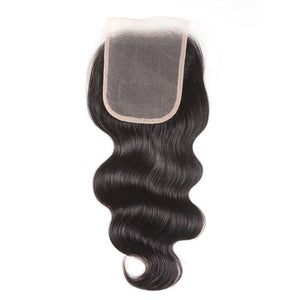 Virgin Hair Body Wave Lace Closure with Baby Hair (#1B Natural Black)