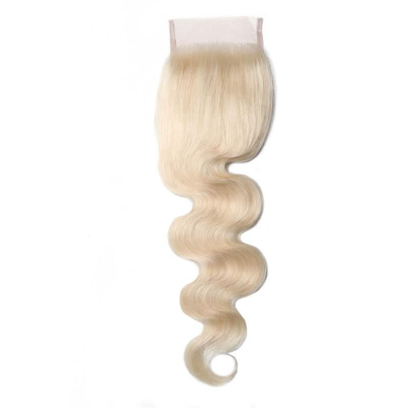 Virgin Hair Body Wave Lace Closure with Baby Hair (#613 Bleach Blonde)