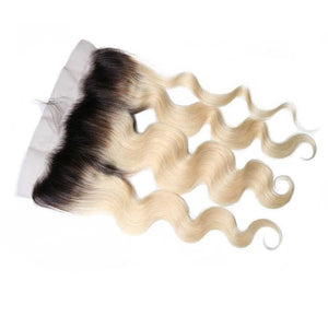 Virgin Hair Body Wave Lace Frontal with Baby Hair (#1B/613 Bleach Blonde)
