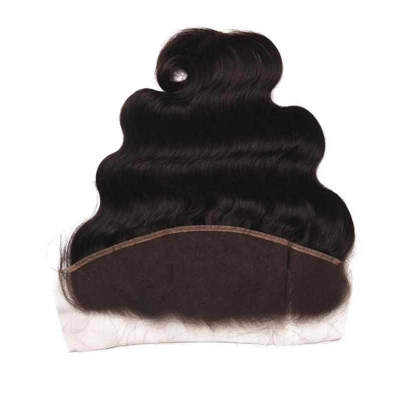 Virgin Hair Body Wave Lace Frontal with Baby Hair (#1B Natural Black)