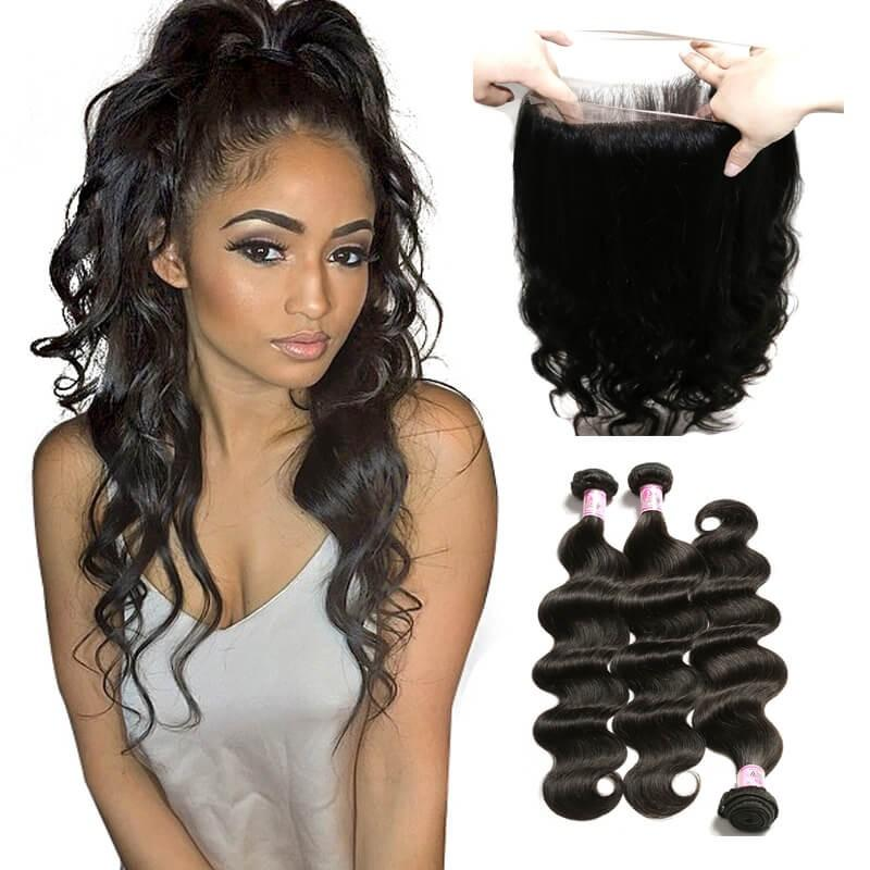 Virgin Hair 3 Bundles with 360 Lace Frontal Body Wave Hair