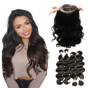 Virgin Hair 4 Bundles with 360 Lace Frontal Body Wave Human Hair