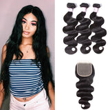 Brazilian Hair 3 Bundles with Lace Closure Body Wave Hair
