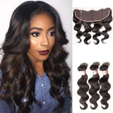 Brazilian Hair 3 Bundles with Lace Frontal Body Wave Hair