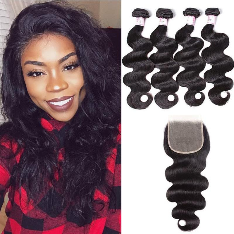 Brazilian Hair 4 Bundles with Lace Closure Body Wave Hair