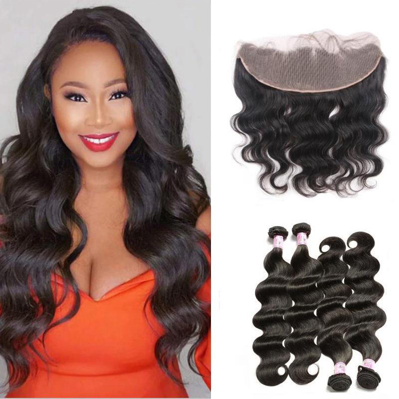 Brazilian Hair 4 Bundles with Lace Frontal Body Wave Hair