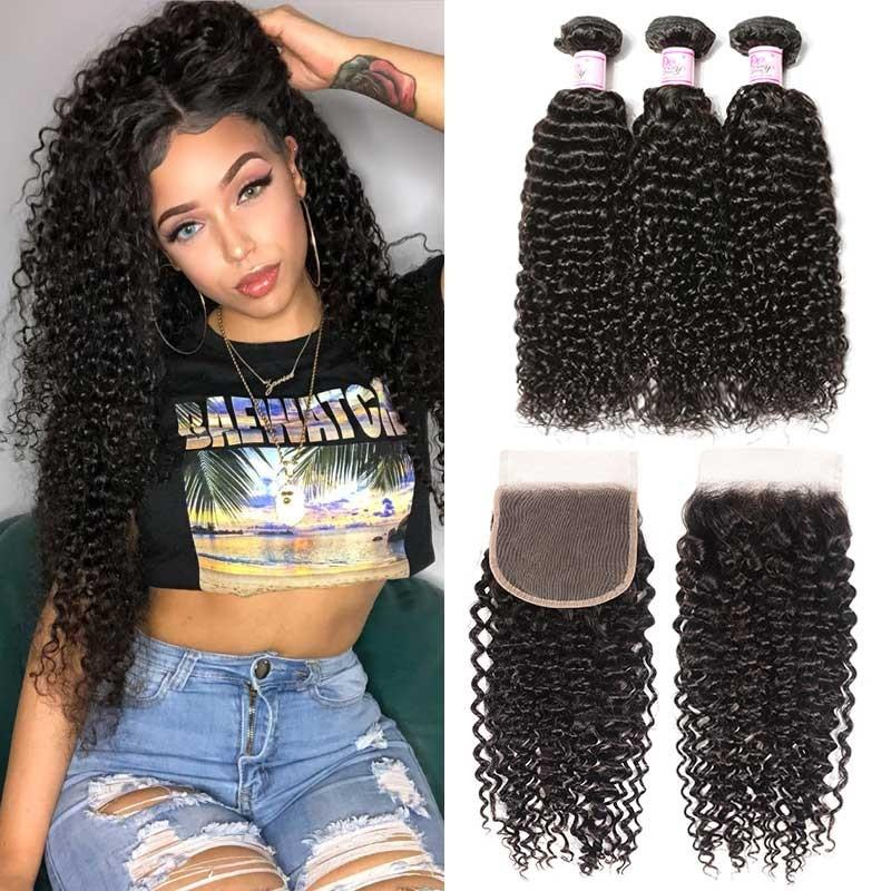 Brazilian Hair 3 Bundles with Lace Closure Curly Hair
