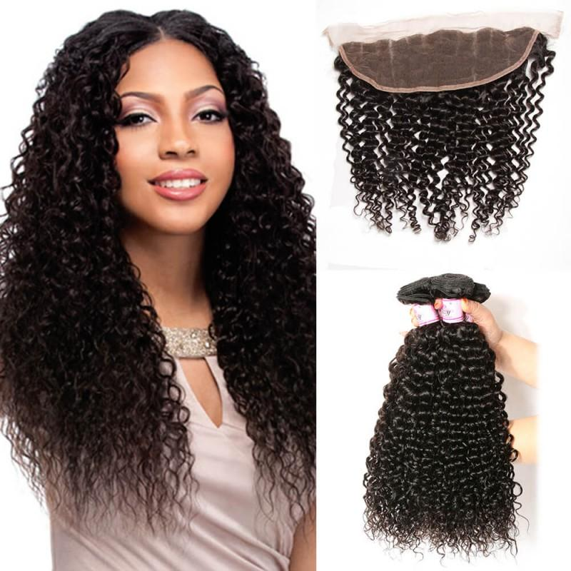 Brazilian Hair 3 Bundles with Lace Frontal Curly Hair