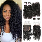 Brazilian Hair 4 Bundles with Lace Closure Curly Hair