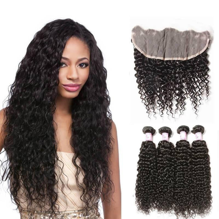 Brazilian Hair 4 Bundles with Lace Frontal Curly Hair