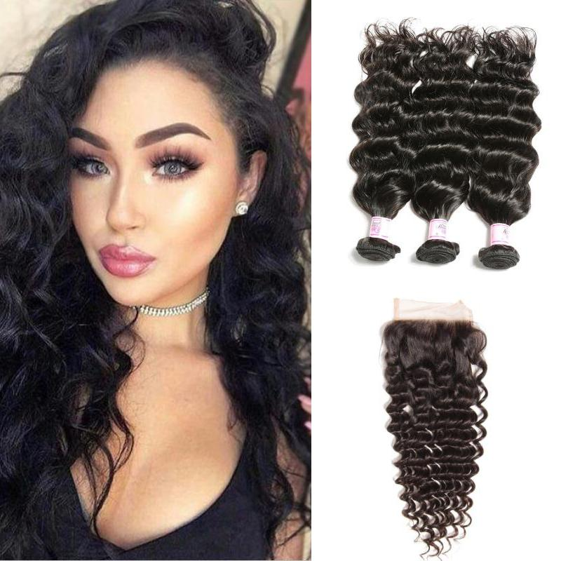 Brazilian Hair 3 Bundles with Lace Closure Deep Wave Hair