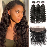 Brazilian Hair 3 Bundles with Lace Frontal Deep Wave Hair