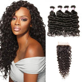 Brazilian Hair 4 Bundles with Lace Closure Deep Wave Hair
