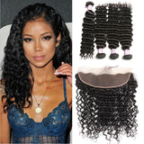 Brazilian Hair 4 Bundles with Lace Frontal Deep Wave Hair