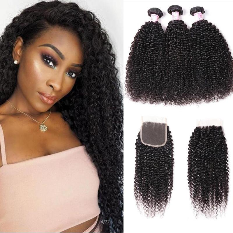 Brazilian Hair 3 Bundles with Lace Closure Kinky Curly Hair